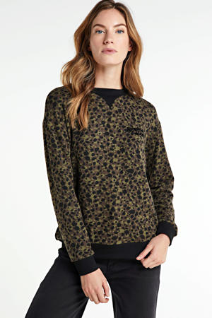 sweater met all over print kaki/zwart