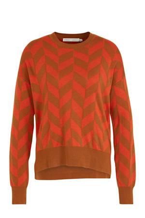 fijngebreide trui Sanja met all over print oranje/bruin