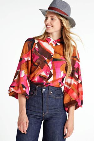blouse Poppy met all over print roze/bruin/wit