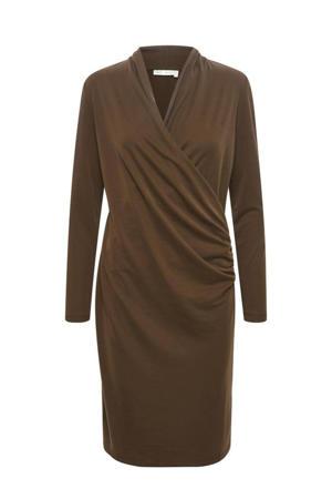 jurk Catja met plooien bruin
