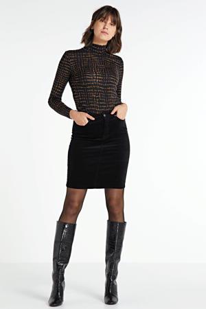 top Cabrie met all over print zwart/bruin