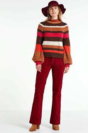 gestreepte gebreide trui Sarial bruin/rood/wit