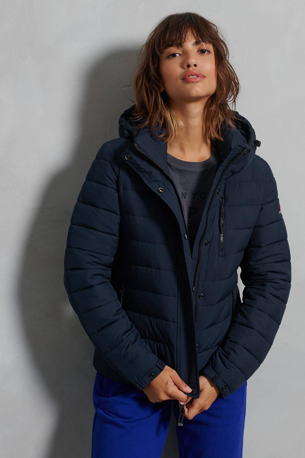 Superdry gewatteerde winterjas donkerblauw, Donkerblauw