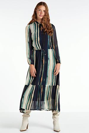 gestreepte maxi jurk Parcy blauw/groen/ecru