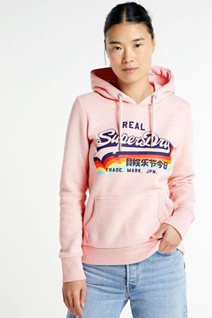 hoodie met logo lichtroze