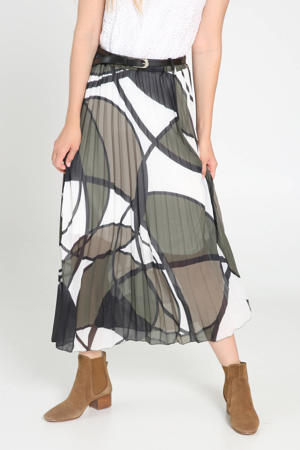 semi-transparante plissé rok met grafische print en ceintuur wit/bruin/groen