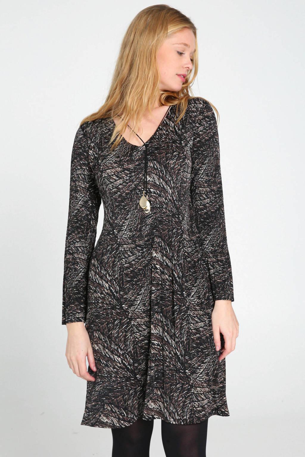 Cassis A-lijn jurk met all over print en 3D applicatie roodbruin/wit/zwart, Roodbruin/wit/zwart