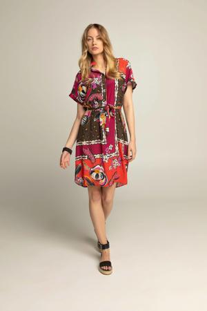 jurk met all over print en ceintuur rood/paars/bruin