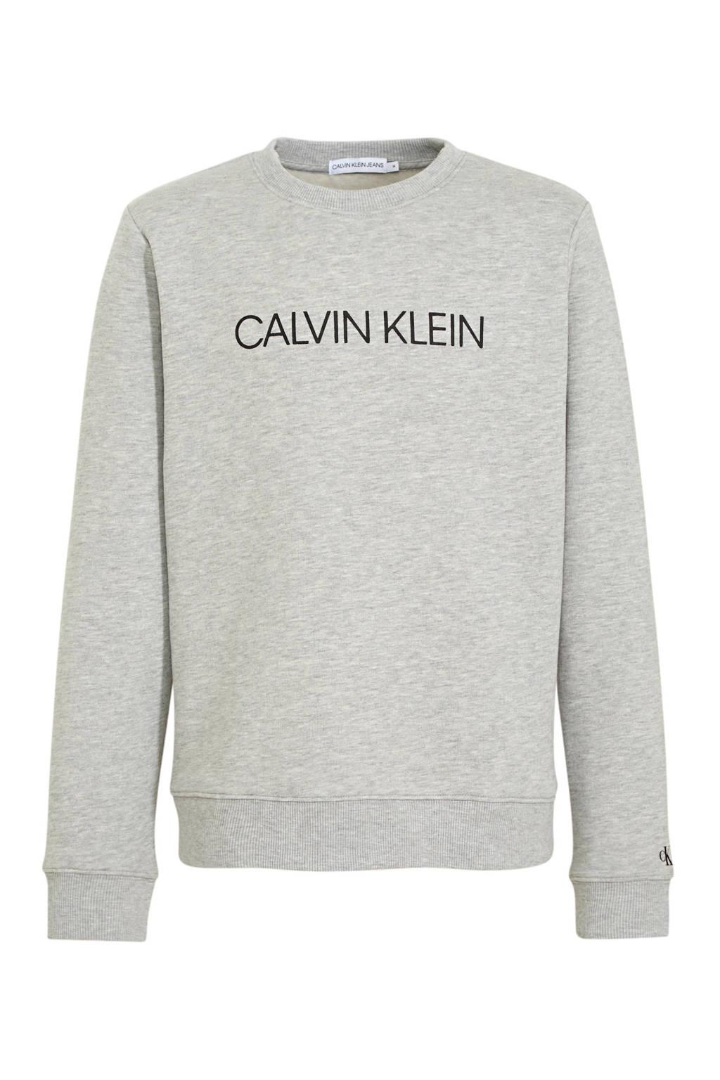 CALVIN KLEIN JEANS sweater met logo lichtgrijs, Lichtgrijs