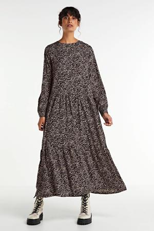maxi jurk Rita met all over print bruin/zwart