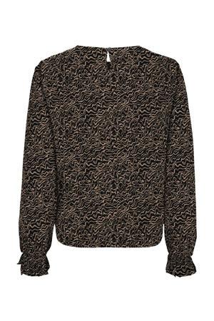 blouse met all over print bruin