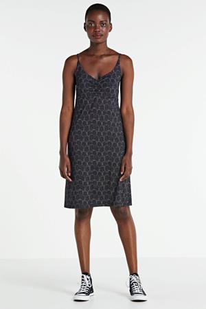 A-lijn jurk met all over print zwart/wit