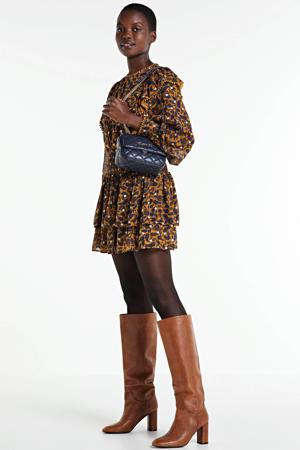 semi-transparante rok met paisleyprint en plooien lichtbruin