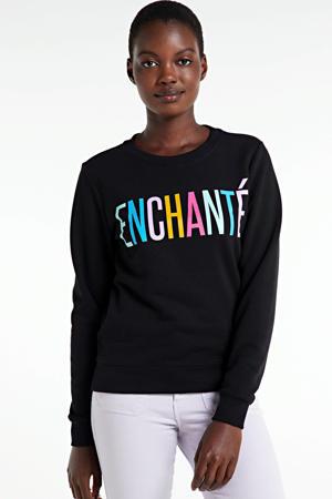 sweater Enchante met tekst en borduursels zwart