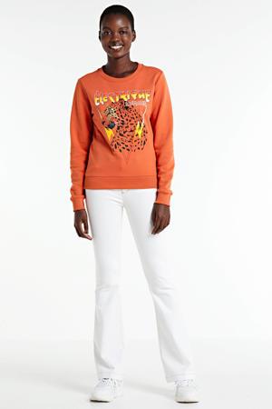 sweater Electrique d'Amour met printopdruk koraal
