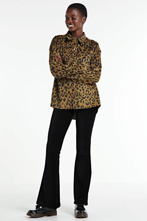 corduroy blouse Lean met panterprint en textuur lichtbruin/ zwart