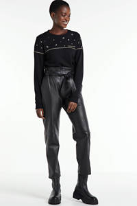 Colourful Rebel sweater Star Eye met contrastbies en borduursels zwart, Zwart