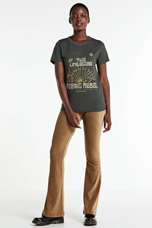 T-shirt Cosmic Rebel met printopdruk zwart