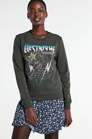 sweater Electrique d'Amour met printopdruk zwart