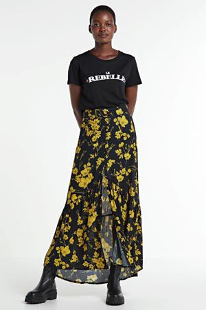 gebloemde rok Rive zwart/ geel