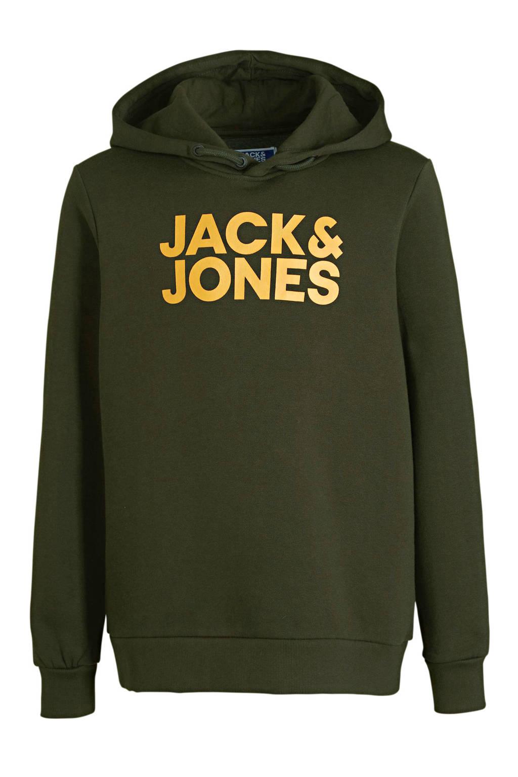 JACK & JONES JUNIOR hoodie Corpo met logo donkergroen/zwart, Donkergroen/geel