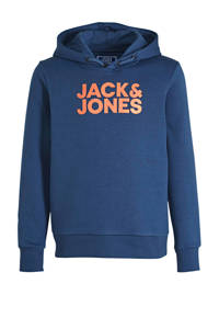 JACK & JONES JUNIOR hoodie Corpo met logo donkerblauw/oranje, Donkerblauw/oranje
