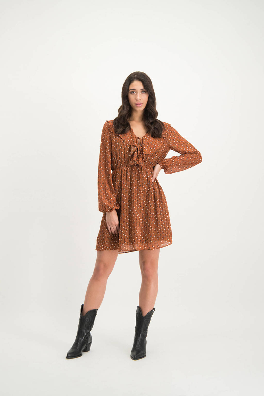 Lofty Manner jurk Giorgia met stippen bruin, Bruin
