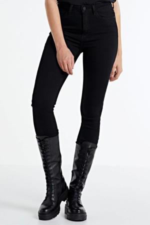 high waist skinny jeans NMCALLIE met biologisch katoen zwart