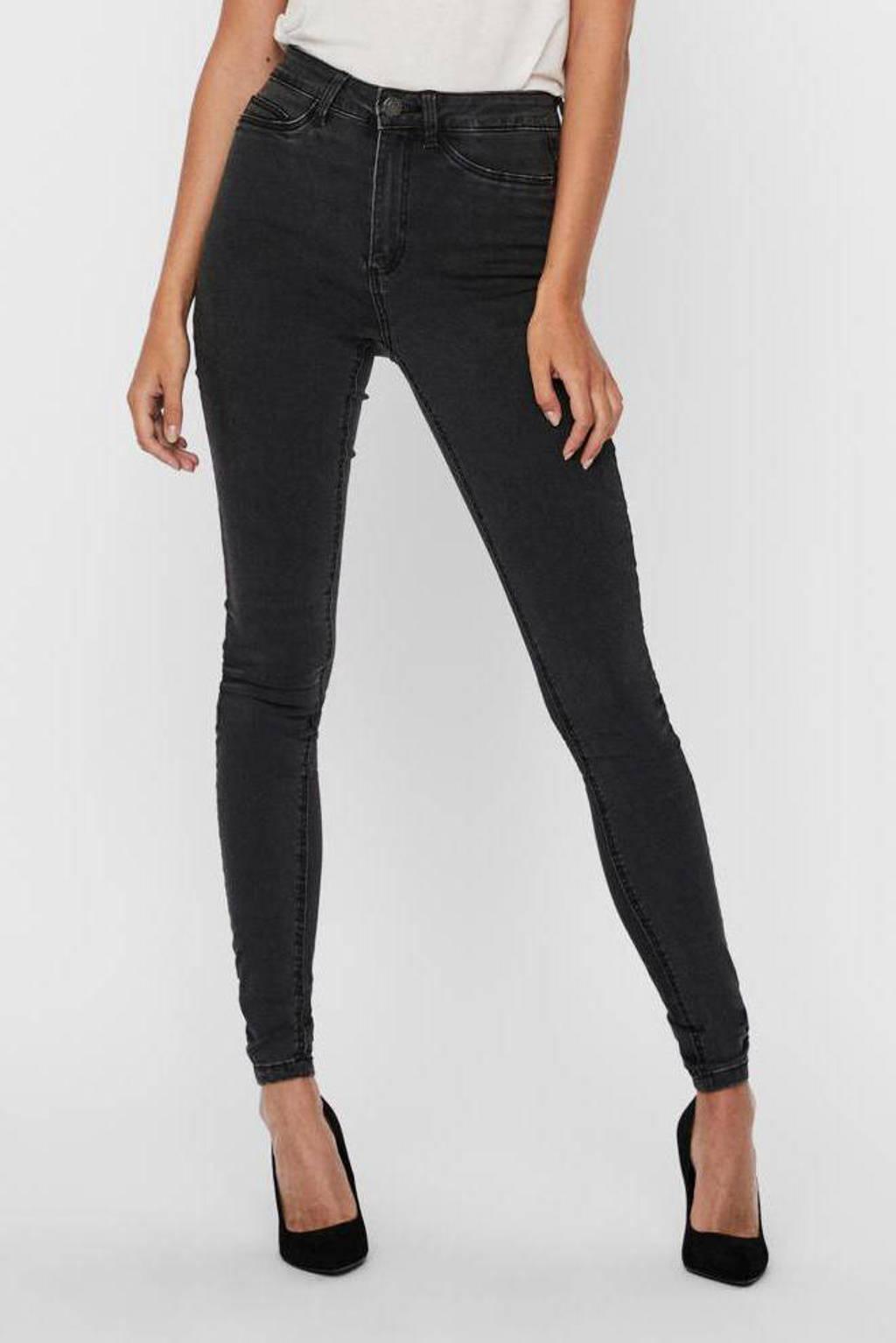NOISY MAY skinny jeans NMCALLIE dark grey denim, Grijs
