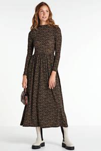 JACQUELINE DE YONG maxi jurk Svan met all over print zwart/multi, Zwart/multi