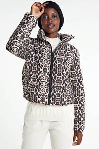 JACQUELINE DE YONG gewatteerde jas met panterprint zwart/bruin, Zwart/bruin