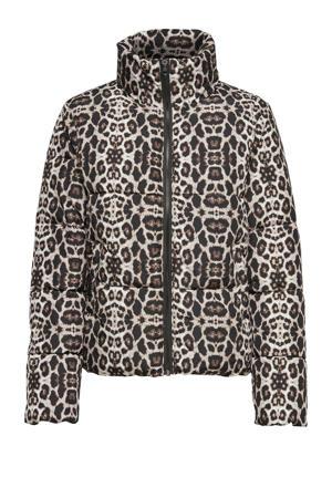 gewatteerde jas met panterprint zwart/bruin