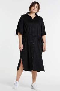Yesta jurk met ceintuur zwart, Zwart