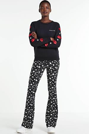 sweater Lip met borduursels zwart