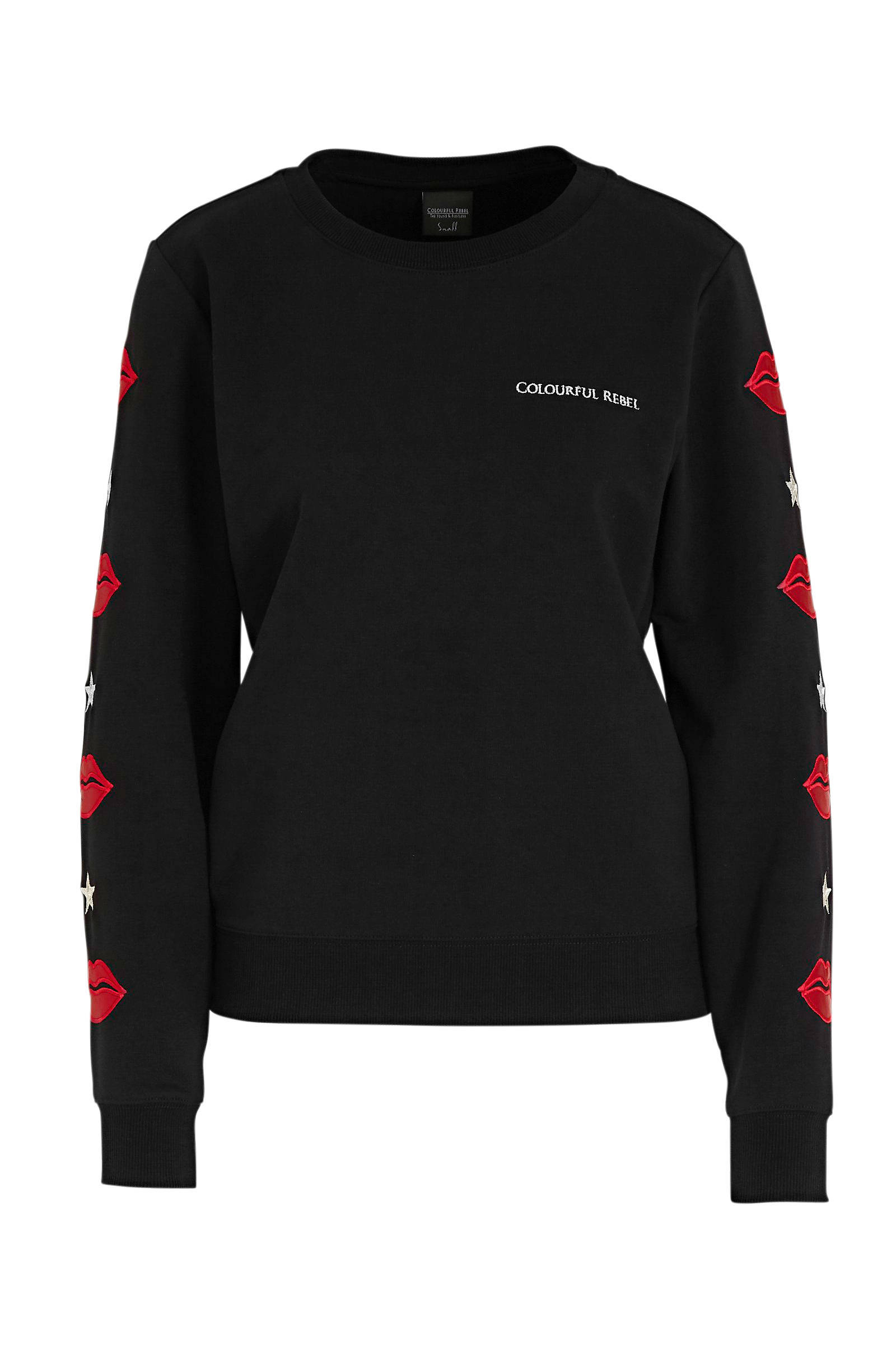 Colourful Rebel sweater Lip met borduursels zwart   wehkamp