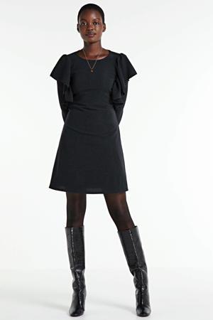 fijngebreide A-lijn jurk Nelly Lurex met volant en glitters zwart