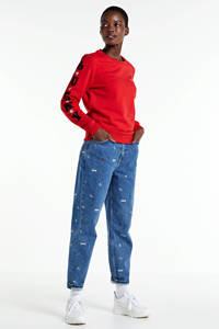 Colourful Rebel sweater Lucky Star met borduursels rood, Rood