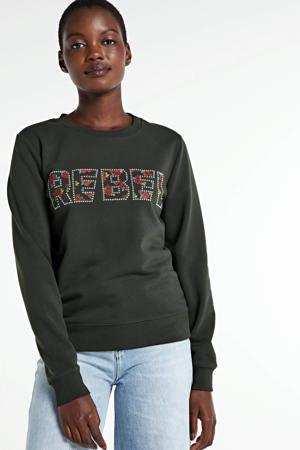 sweater Rebel met tekst donkergroen