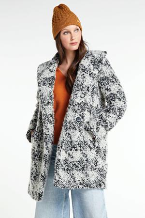 geruite coat Harper wit/zwart