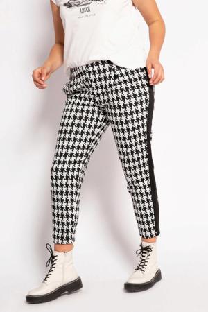 cropped slim fit broek met zijstreep wit/zwart