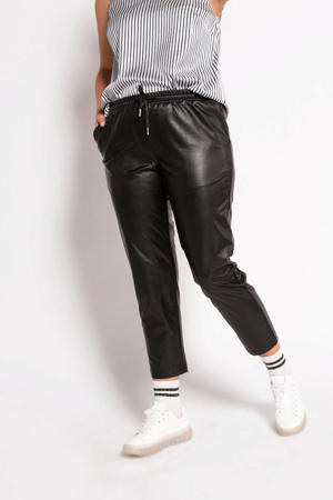coated cropped slim fit broek zwart