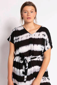 Studio Untold jurk met all over print en ceintuur wit/zwart, Wit/zwart