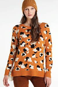 VILA gebreide trui Ril met all over print oranje/zwart/ecru, Oranje/zwart/ecru