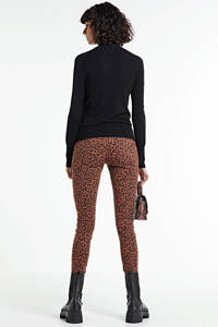 VILA cropped high waist skinny jeans met all over print VISJYLI tortoise shell, Bruin