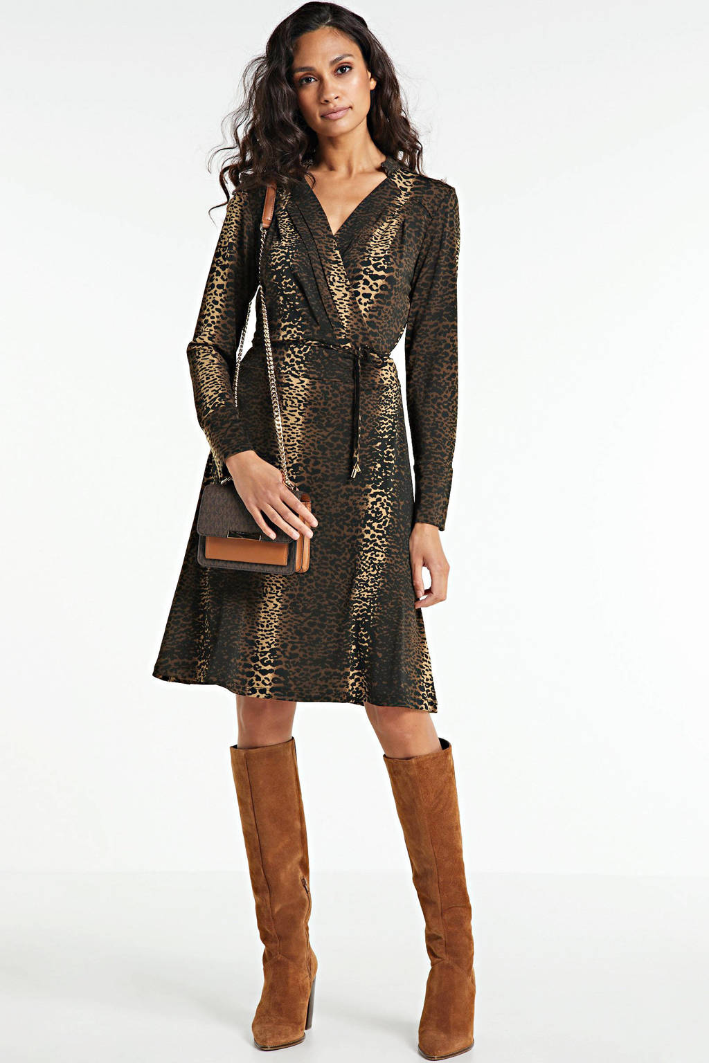 FREEQUENT blousejurk met all over print beige sand mix, Bruin