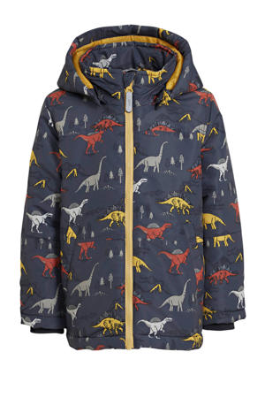 winterjas Max met all over print blauw/multicolor