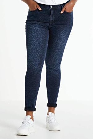 skinny jeans Jane met panterprint regular waist dark denim