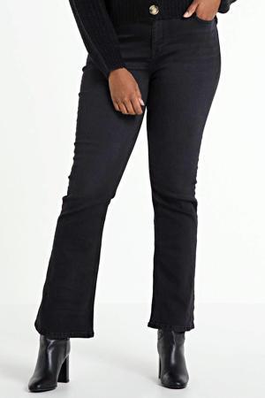 flared jeans Naomi regular waist zwart