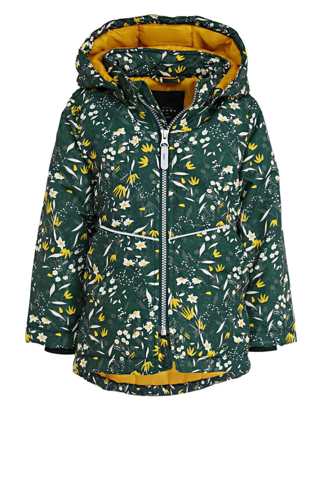 NAME IT MINI  winterjas Max met all over print groen/okergeel, Groen/Okergeel