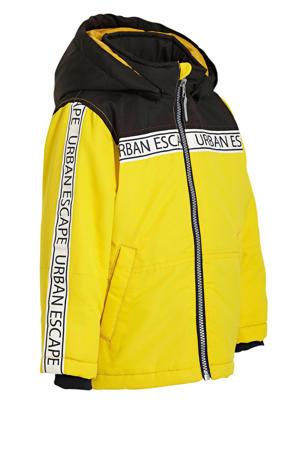 winterjas Max met contrastbies geel/zwart